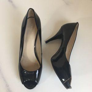 Shoes - Nine West Sz 6.5M Peep Toe Black Patent Leather